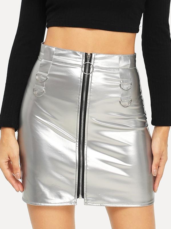 Metallic Zip Front Skirt by Sheinside