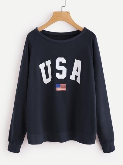 c5d327332a7c5 Plus Letter Print Sweatshirt