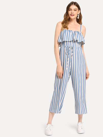 d9a7bc7745d8 Flounce Trim Drawstring Waist Striped Jumpsuit