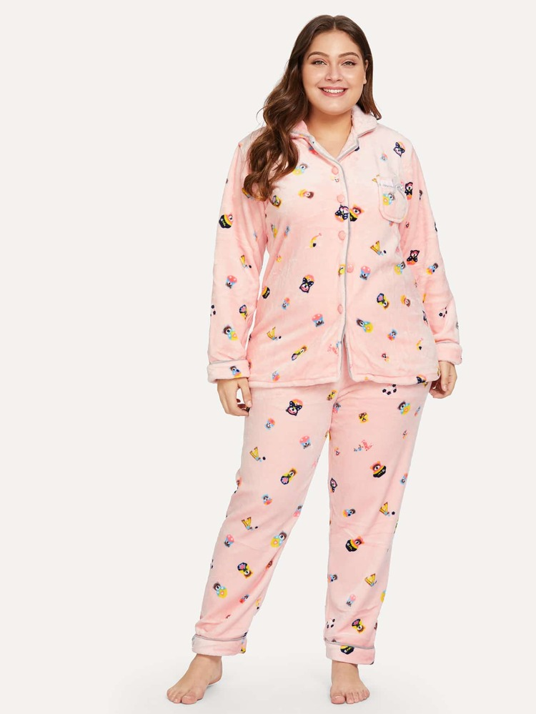 3ec1e89940 Plus Cartoon Print Plush Pajama Set | SHEIN