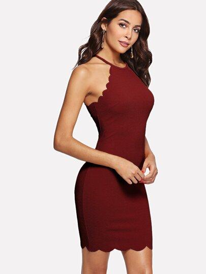 7db7b41e5203 Scallop Edge Halter Dress