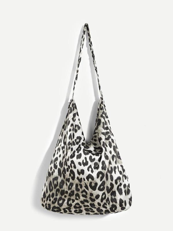 Bolsa de mano de franela con patrón de leopardo-Spanish SheIn(Sheinside)