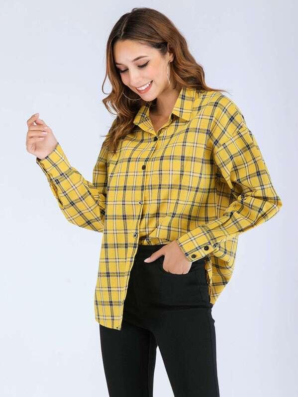 Plaid Drop Shoulder Shirt by Sheinside
