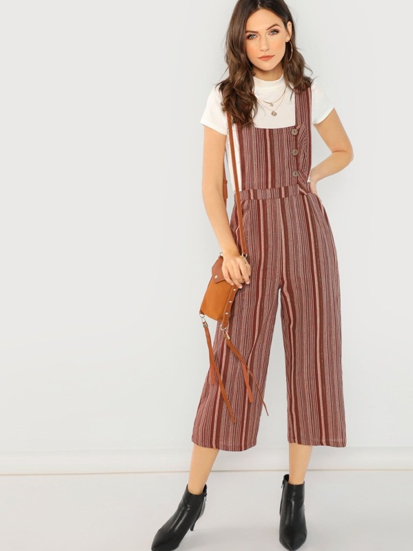 Striped Cropped Button Detail Jumpsuit by Sheinside