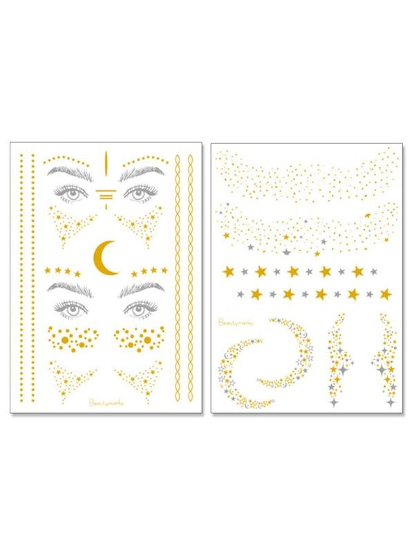 Star   Moon Shaped Eye Tattoo Sticker 2pcs -SheIn(Sheinside) 762cde69ceb55