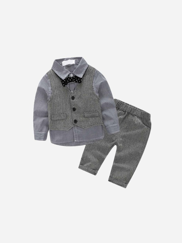 Toddler Boys Bow Front Plaid Shirt Pants Vest Sheinsheinside