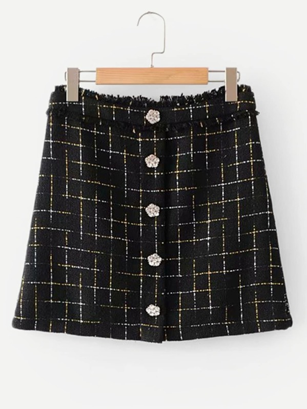 Raw Trim Rhinestone Button Plaid Skirt by Sheinside