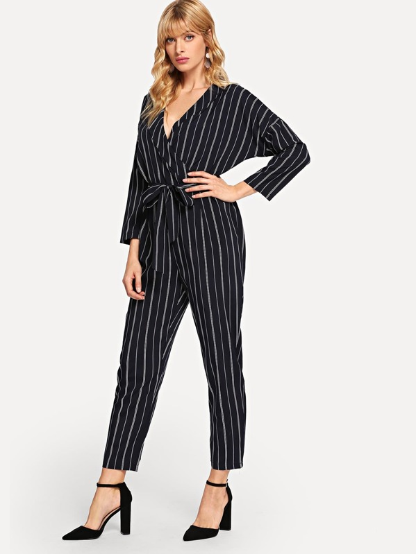 86a6bdef81c Striped Wrap Self Tie Waist Jumpsuit