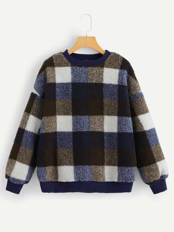 Drop Shoulder Plaid Teddy Sweatshirt by Shein