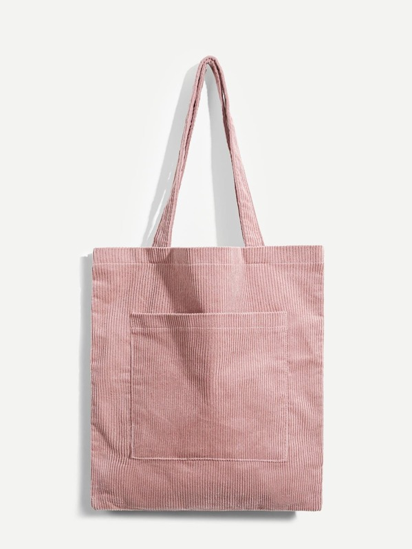 Plain Pocket Front Corduroy Tote Bag Sheinsheinside