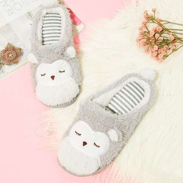 Fluffy Owl Slippers, Multicolor