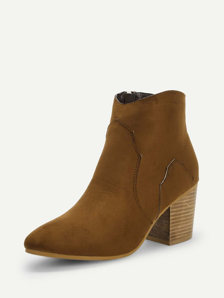 838c0544d7 Plain Chunky Heeled Western Ankle Boots | SHEIN