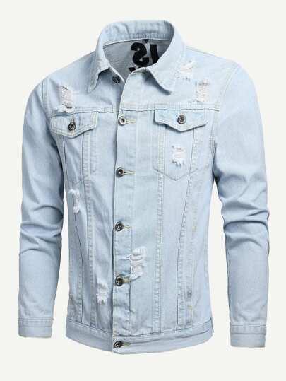 Men Embroidery Destroyed Denim Jacket Shein