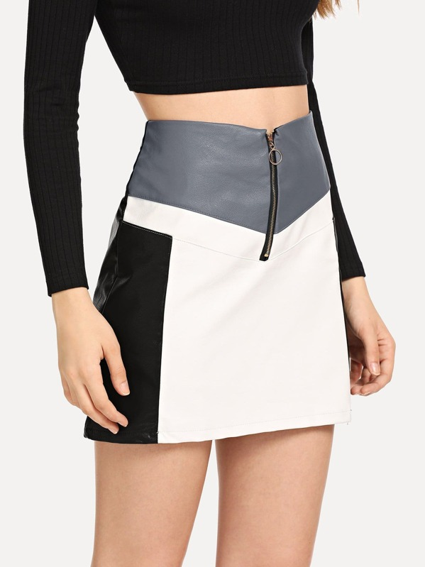 Zip Up Front Color Block Skirts by Sheinside