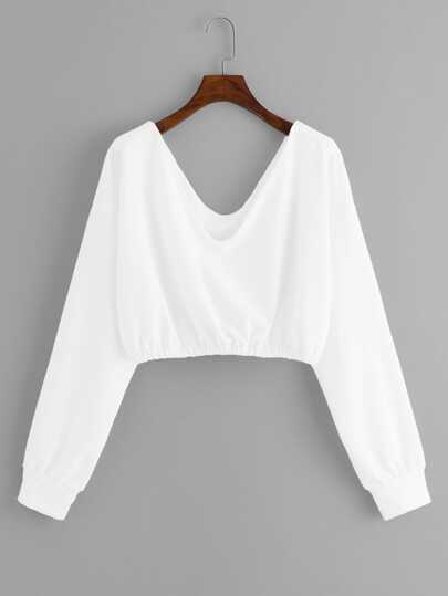 V Neck Crop Sweatshirt 701bad8d8
