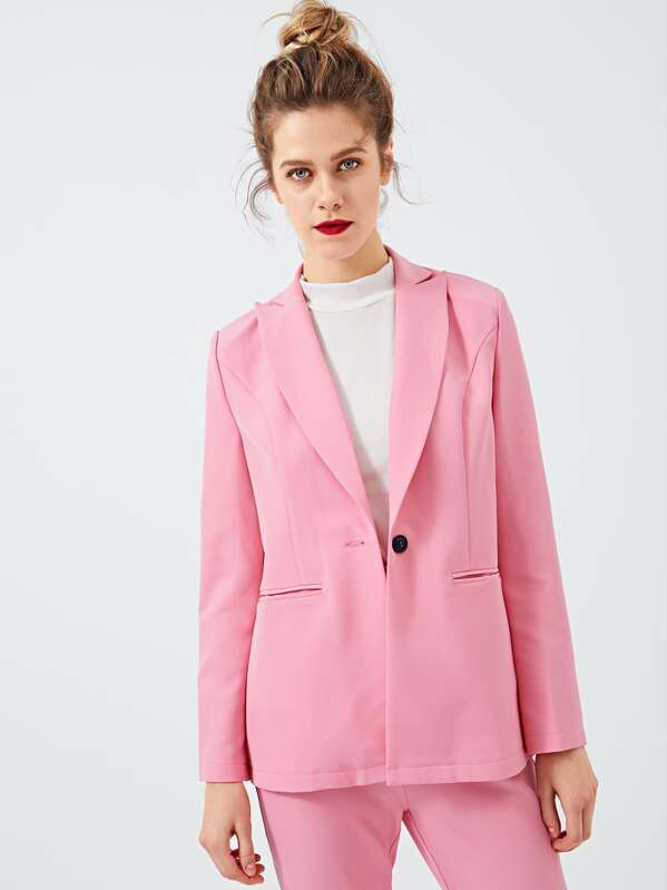 Button Up Notched Neck Solid Blazer by Shein