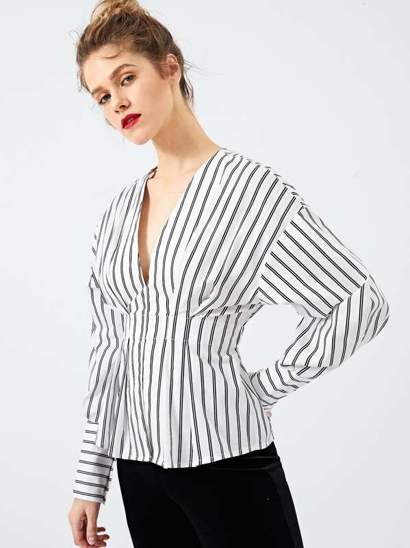 Vertical Stripe Plunging Neck Blouse by Shein