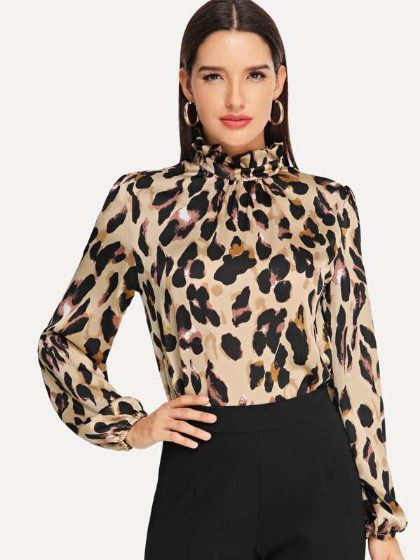 Frilled Collar Keyhole Back Leopard Top by Shein