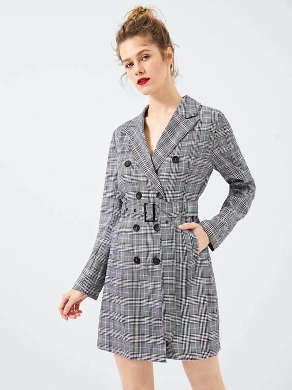 Waist Belted Double Button Plaid Dress by Shein