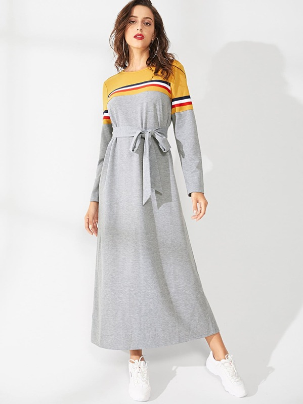 Color Block Striped Belted Dress, Grey, Mary P.