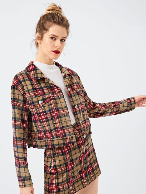 Symmetrical Pocket Front Plaid Jacket by Shein