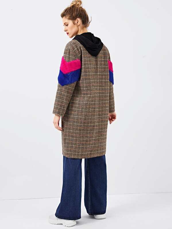 39ffbb2000 Color Block Notched Neck Plaid Coat -SheIn(Sheinside)