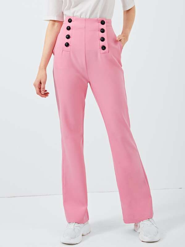 Button Front Solid Pants by Shein