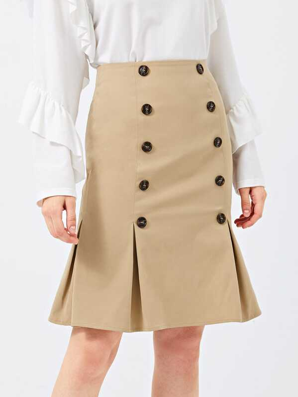 Double Breasted Pleated Skirt by Shein