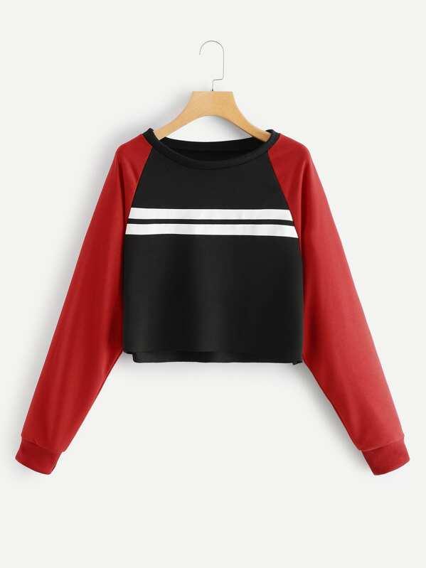 Stripe Contrast Raglan Sleeve Sweatshirt by Sheinside