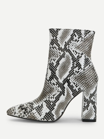 001aa49263c Snakeskin Side Zipper Boots