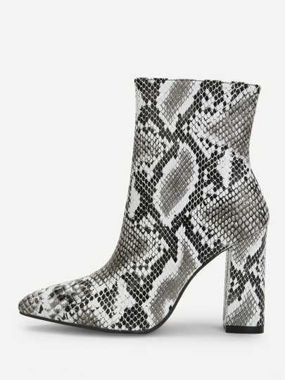 0d1fa8c823e Snakeskin Side Zipper Boots
