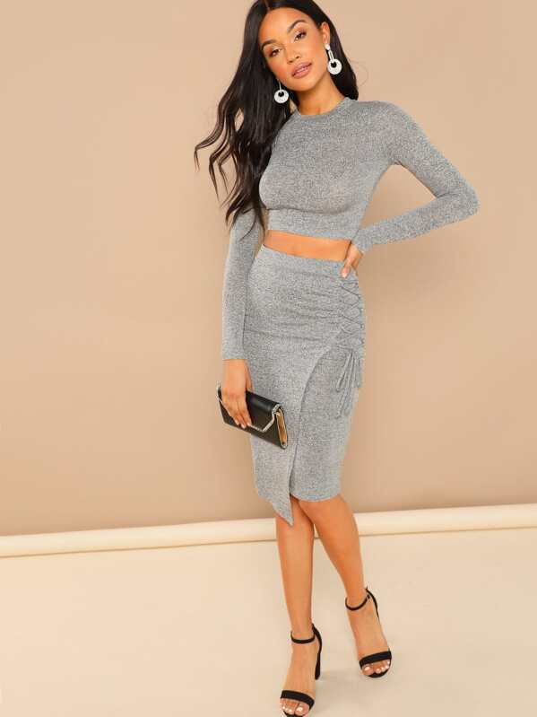 4c89cdb75e Crop Long Sleeve Knit Top And Laced Up Skirt Set -SheIn(Sheinside)