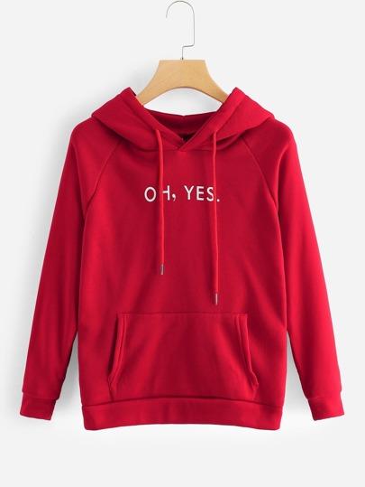 dd05539ae96 Letter Print Hooded Sweatshirt