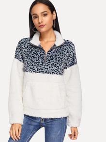 89709c1cfc Cheap Drop Shoulder Color-Block Teddy Sweatshirt for sale Australia | SHEIN