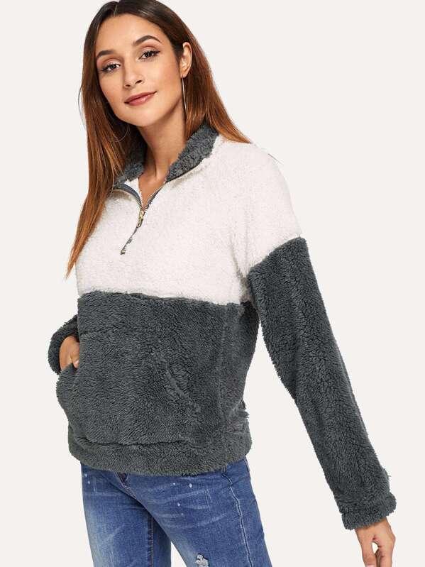 Drop Shoulder Color Block Teddy Sweatshirt by Sheinside
