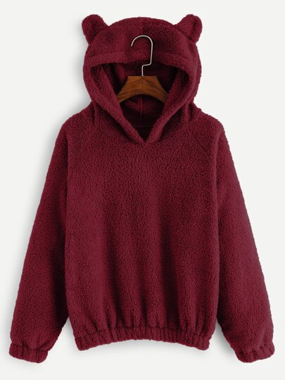 8209a672243 Solid Hooded Teddy Sweatshirt