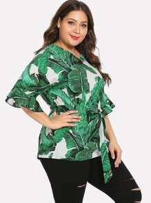 0bb713a38bc5d Plus Drop Shoulder Jungle Leaf Print Top