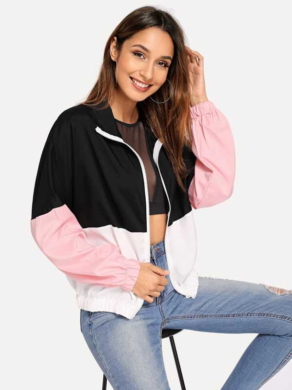 Elastic Hem Color Block Windbreaker Jacket by Shein