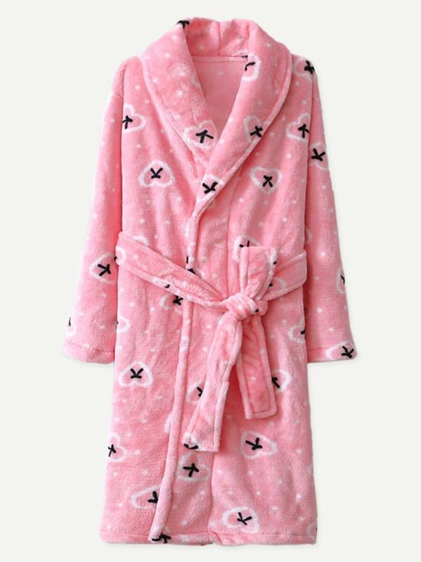 e2efe8d680 Heart Print Self Belted Plush Robe