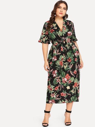 33ec110a1c Plus Ruffle Sleeve Surplice Wrap Tropical Dress