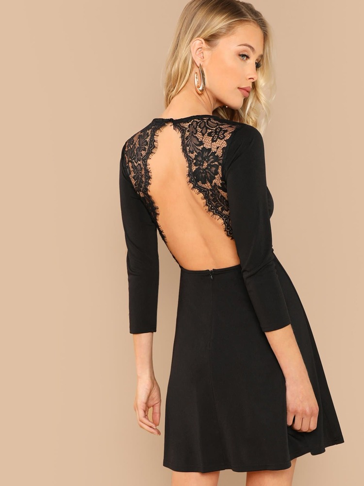 a631fc2249a3f Eyelash Lace Open Back Skater Dress   SHEIN