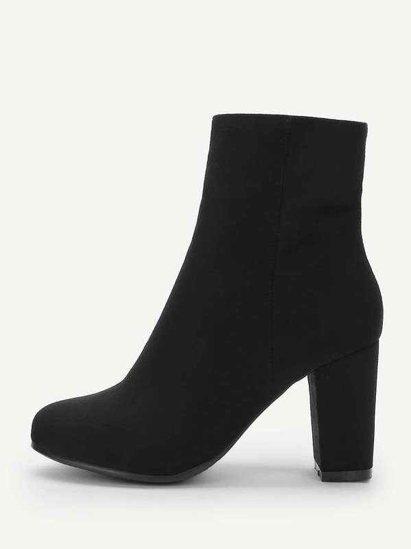 Plain Side Zipper Boots by Sheinside