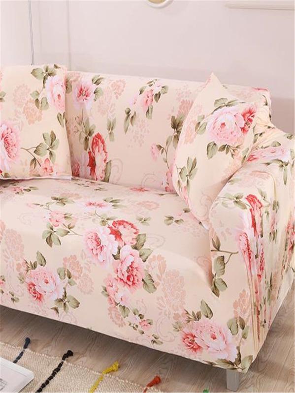Floral Print Stretchy Sofa Cover 1pc U0026 Cushion Cover 1pc  SheIn(Sheinside)