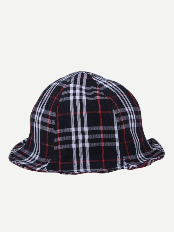 Kids Plaid Bucket Hat -SheIn(Sheinside) c13dc1b960e