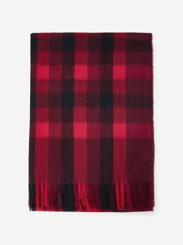 christmas frayed trim plaid scarf sheinsheinside - Christmas Plaid Scarf