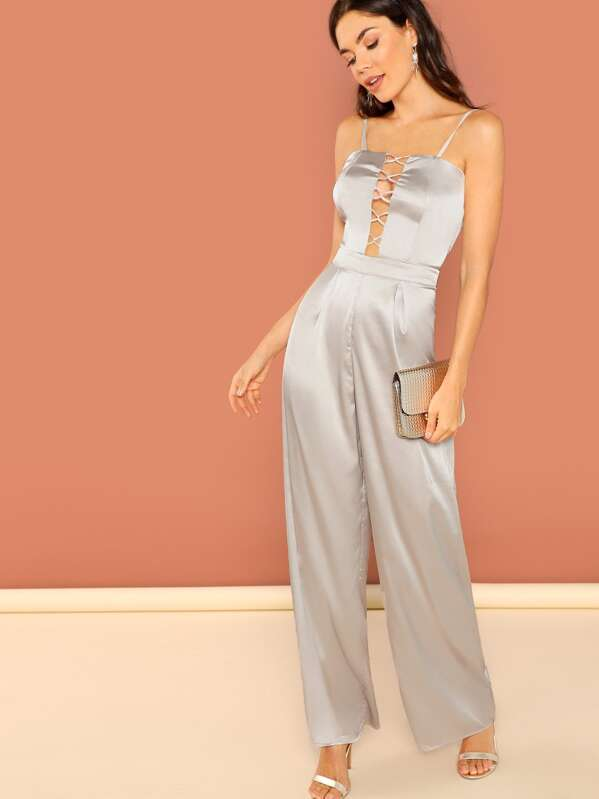 Crisscross Plunging Neck Cami Satin Jumpsuit by Shein