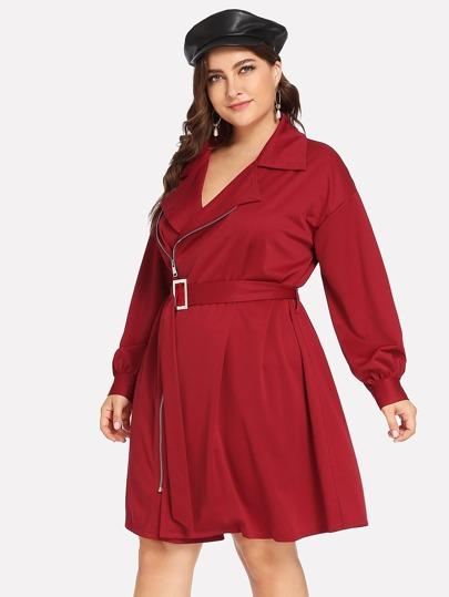 20b7ec3790853 Kırmızı Fermuar Sade Gündelik Artı Beden Elbiseler