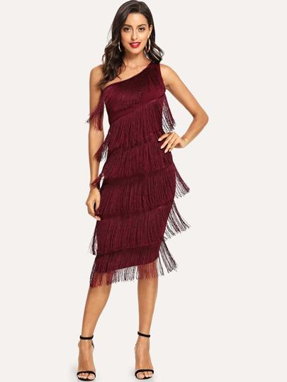 3c9a50cdb04 One Shoulder Tiered Fringe Bodycon Dress