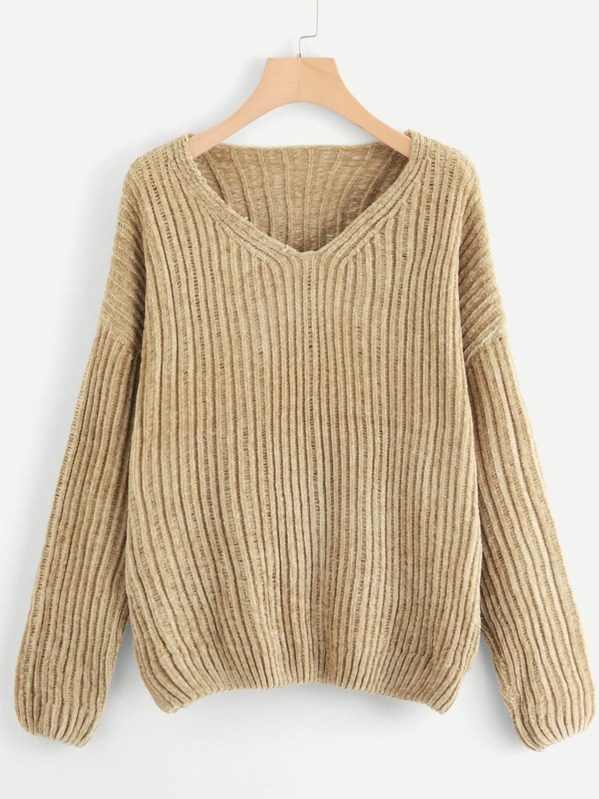 Rib Knit Chenille Sweater by Shein