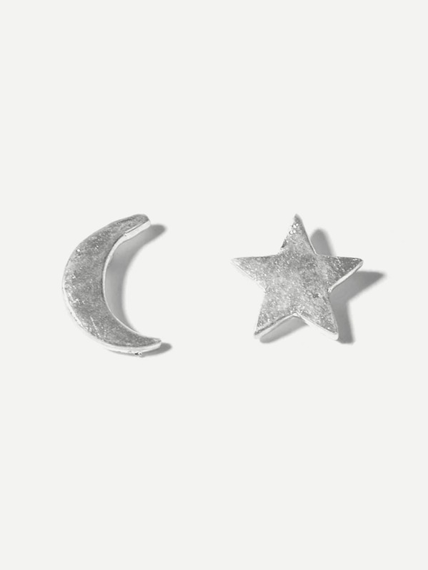 Moon & Star Mismatched Stud Earrings 1pair by Sheinside